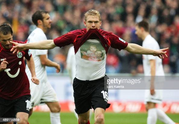 Artjoms Rudnevs of Hannover celebrates his goal during the Bundesliga match between Hannover 96 and SC Freiburg at HDIArena on May 10 2014 in Hanover...