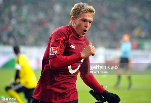 Artjoms Rudnevs of Hannover celebrates scoring his goal during the Bundesliga match between VfL Wolfsburg and Hannover 96 at Volkswagen Arena on...