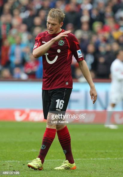 Artjoms Rudnevs of Hanover reacts during the Bundesliga match between Hannover 96 and SC Freiburg at HDIArena on May 10 2014 in Hanover Germany