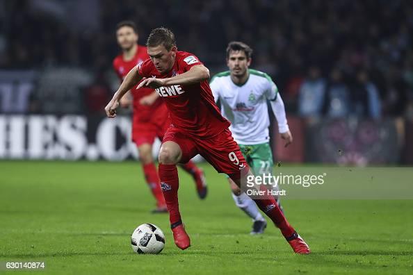Artjoms Rudnevs of Koeln in action during the Bundesliga match between Werder Bremen and 1 FC Koeln at Weserstadion on December 17 2016 in Bremen...
