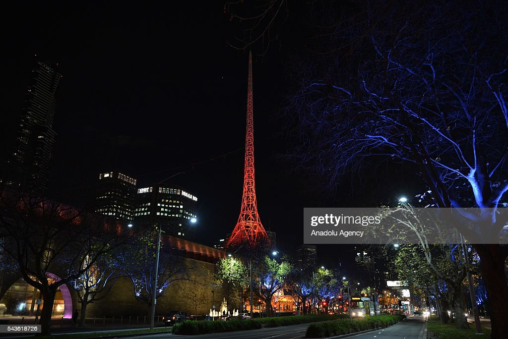 Arts Centre of Melbourne building lit up in the colours of the Turkish national flag after Australian Prime Minister Malcolm Turnbull and Australian Foreign Minister Julie Bishop's press conference on Istanbul Ataturk International Airport terror attacks, in Melbourne, Australia on June 29, 2016.