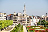 Morning view on the Arts Mountain square with beautiful buildings and city hall tower in Brussels, Belgium