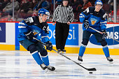 Artturi Lehkonen of Team Finland carries the puck in a preliminary round game during the 2015 IIHF World Junior Hockey Championships against Team...