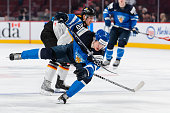 Artturi Lehkonen of Team Finland looses his balance in a preliminary round game during the 2015 IIHF World Junior Hockey Championships against Team...