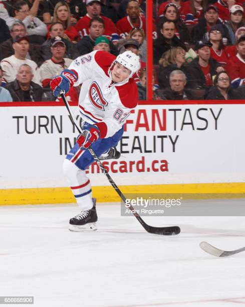 Artturi Lehkonen of the Montreal Canadiens skates against the Ottawa Senators at Canadian Tire Centre on March 18 2017 in Ottawa Ontario Canada