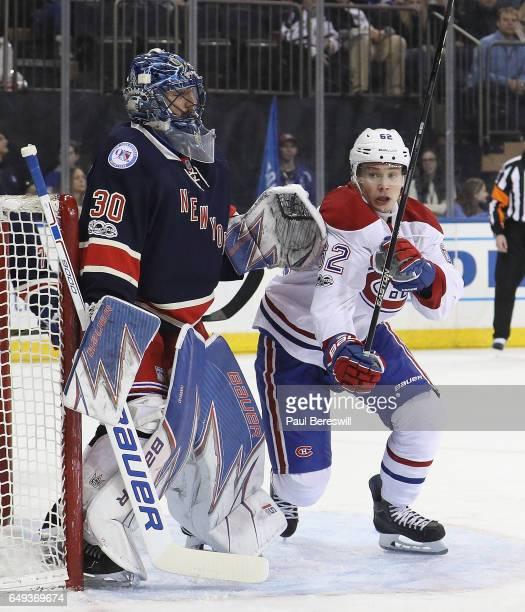 Artturi Lehkonen of the Montreal Canadiens skates past Henrik Lundqvist of the New York Rangers in an NHL hockey game at Madison Square Garden on...