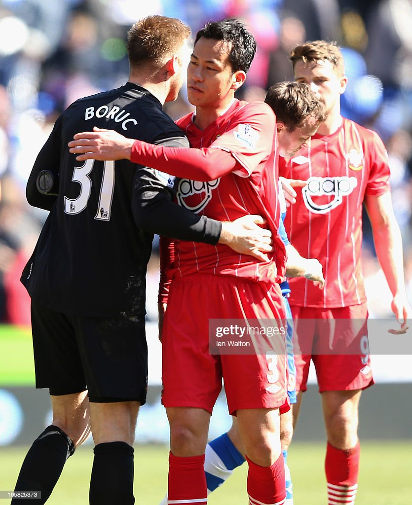 <a gi-track='captionPersonalityLinkClicked' href=/galleries/search?phrase=Artur+Boruc&family=editorial&specificpeople=554761 ng-click='$event.stopPropagation()'>Artur Boruc</a> and <a gi-track='captionPersonalityLinkClicked' href=/galleries/search?phrase=Maya+Yoshida&family=editorial&specificpeople=5398323 ng-click='$event.stopPropagation()'>Maya Yoshida</a> of Southampton celebrate victory after the Barclays Premier League match between Reading and Southampton at the Madejski Stadium on April 6, 2013 in Reading, England.