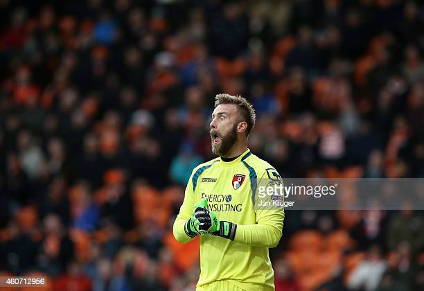 Artur Boruc Goalkeeper of AFC Bournemouth adjusts his sight during the Sky Bet Championship match between Blackpool and Bournemouth at Bloomfield...