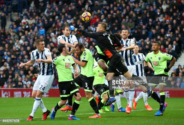 Artur Boruc of AFC Bournemouth attempts to punch the ball but misses which leads to West Bromwich Albion second goal during the Premier League match...