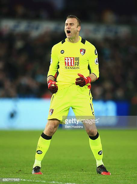 Artur Boruc of AFC Bournemouth celebrates his side's second goal during the Premier League match between Swansea City and AFC Bournemouth at Liberty...