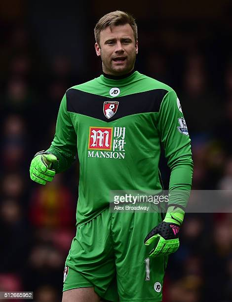 Artur Boruc of AFC Bournemouth looks on during the Barclays Premier League match between Watford and AFC Bournemouth at Vicarage Road on February 27...