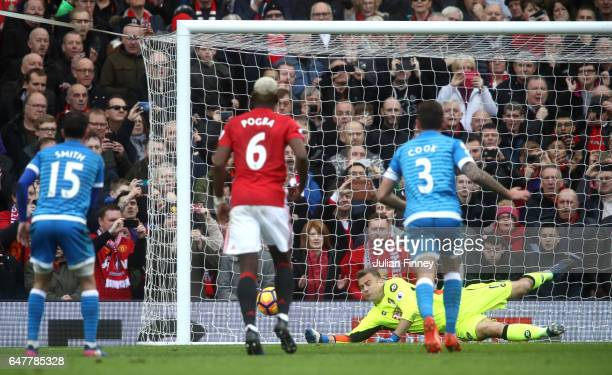 Artur Boruc of AFC Bournemouth saves Zlatan Ibrahimovic of Manchester United penalty during the Premier League match between Manchester United and...