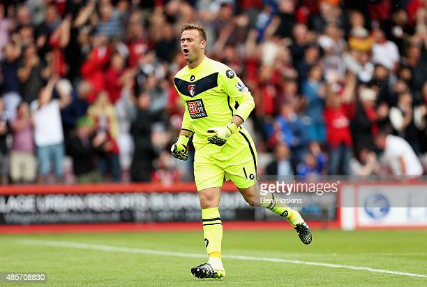 Artur Boruc of Bournemouth celebrates his team's first goal during the Barclays Premier League match between AFC Bournemouth and Leicester City at...