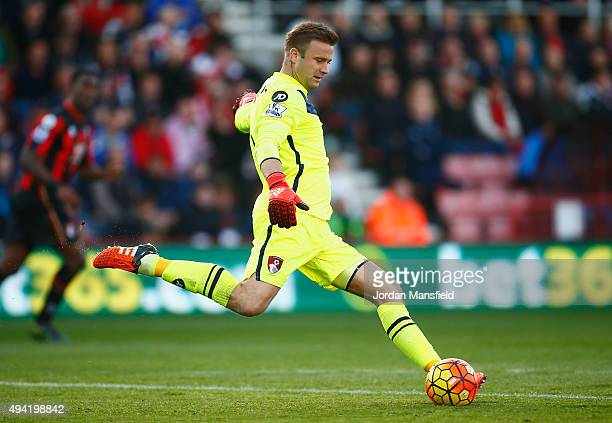 Artur Boruc of Bournemouth kicks the ball during the Barclays Premier League match between AFC Bournemouth and Tottenham Hotspur at Vitality Stadium...