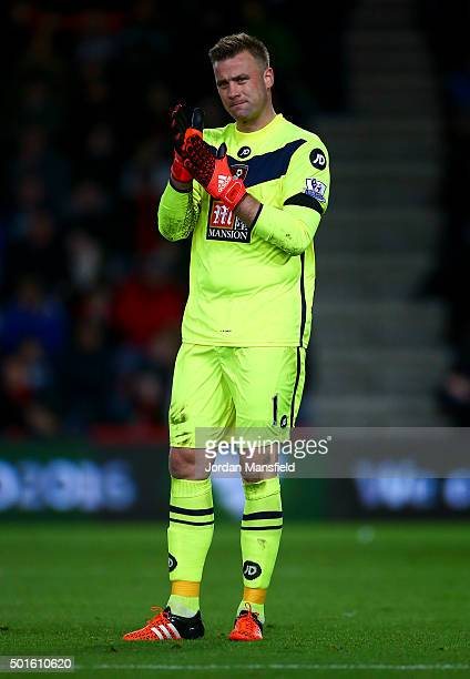 Artur Boruc of Bournemouth looks on during the Barclays Premier League match between AFC Bournemouth and Manchester United at the Vitality Stadium on...