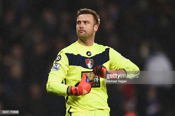 Artur Boruc of Bournemouth reacts after the Barclays Premier League match between Leicester City and Bournemouth at The King Power Stadium on January...
