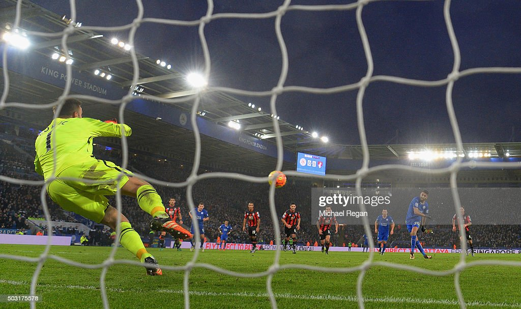 <a gi-track='captionPersonalityLinkClicked' href=/galleries/search?phrase=Artur+Boruc&family=editorial&specificpeople=554761 ng-click='$event.stopPropagation()'>Artur Boruc</a> of Bournemouth saves a penalty from <a gi-track='captionPersonalityLinkClicked' href=/galleries/search?phrase=Riyad+Mahrez&family=editorial&specificpeople=9166027 ng-click='$event.stopPropagation()'>Riyad Mahrez</a> of Leicester during the Barclays Premier League match between Leicester City and Bournemouth at The King Power Stadium on January 2, 2016 in Leicester, England.