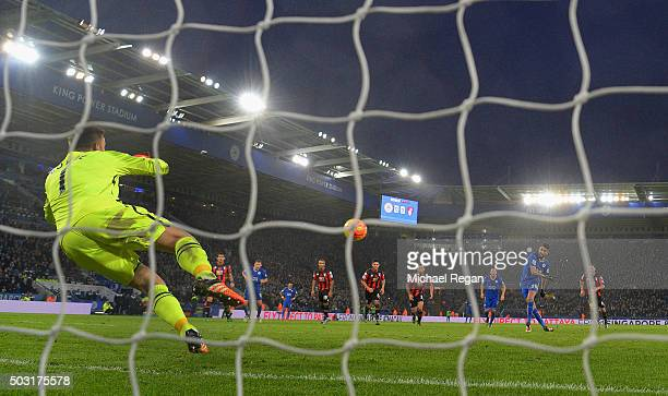 Artur Boruc of Bournemouth saves a penalty from Riyad Mahrez of Leicester during the Barclays Premier League match between Leicester City and...