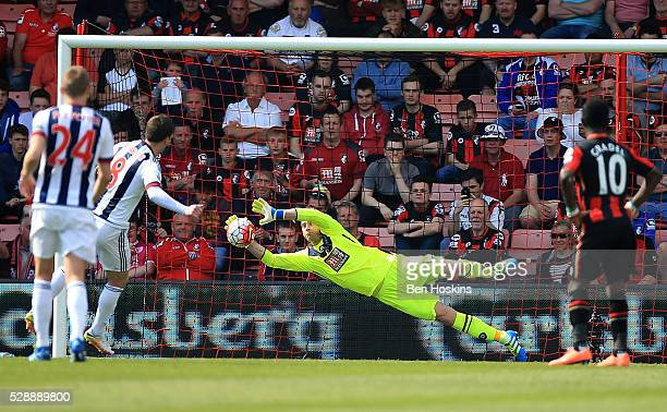 Artur Boruc of Bournemouth saves the penalty of Craig Gardner of West Brom during the Barclays Premier League match between AFC Bournemouth and West...