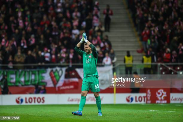 Artur Boruc reacts during the international friendly match between Poland and Uruguay at National Stadium on November 10 2017 in Warsaw Poland