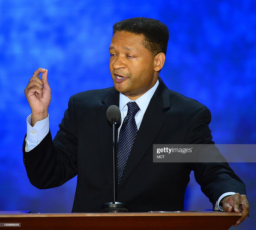 Artur Davis former US representative from Alabama speaks at the second day of the Republican National Convention in Tampa Florida Tuesday August 28...