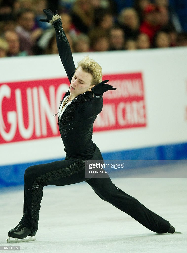 Artur Gachinski of Russia performs in the Mens Free Skating on day six of the ISU European Figure Skating Championships at the Motorpoint Arena in Sheffield, north England, on January 28, 2012. Evgeni Plushenko of Russia went on to take the gold medal.