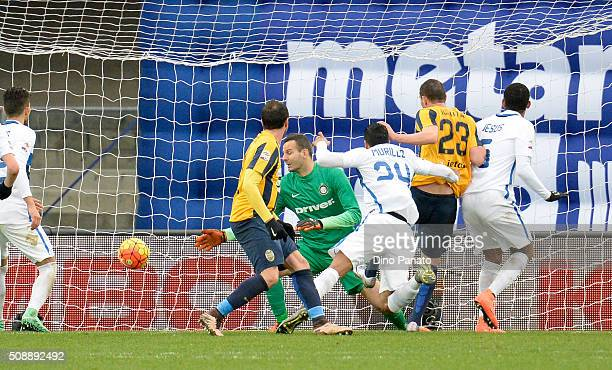 Artur Ionita of Hellas Verona scores his team's third goal during the Serie A match between Hellas Verona FC and FC Internazionale Milano at Stadio...