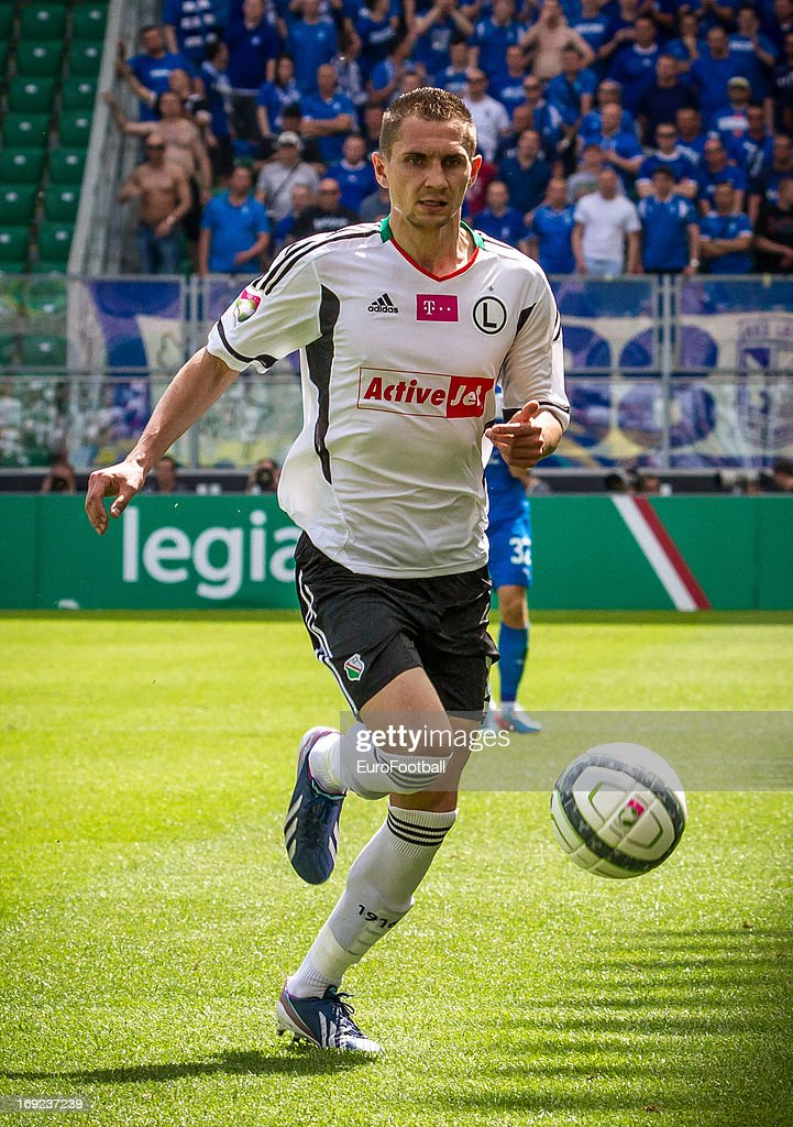 Artur Jedrzejczyk of Legia Warszawa in action during the Polish First Division between Legia Warszawa and KKS Lech Poznan held on May 18, 2013 at the Pepsi Arena in Warsaw, Poland.