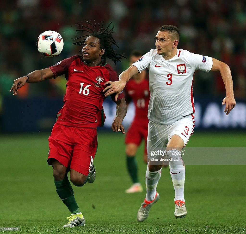 Artur Jedrzejczyk of Poland in action with <a gi-track='captionPersonalityLinkClicked' href=/galleries/search?phrase=Renato+Sanches&family=editorial&specificpeople=12513402 ng-click='$event.stopPropagation()'>Renato Sanches</a> of Portugal during the UEFA Euro 2016 Quarter Final match between Poland and Portugal at Stade Velodrome on June 30, 2016 in Marseille, France.