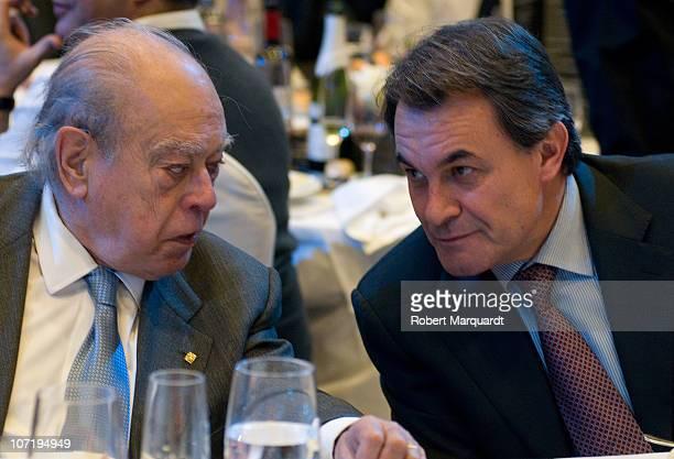 Artur Mas Catalan Nationalist Party president and Jordi Pujol attend the 'Protagonistas Award 2010' at the Palau de Congressos de Catalunya on...