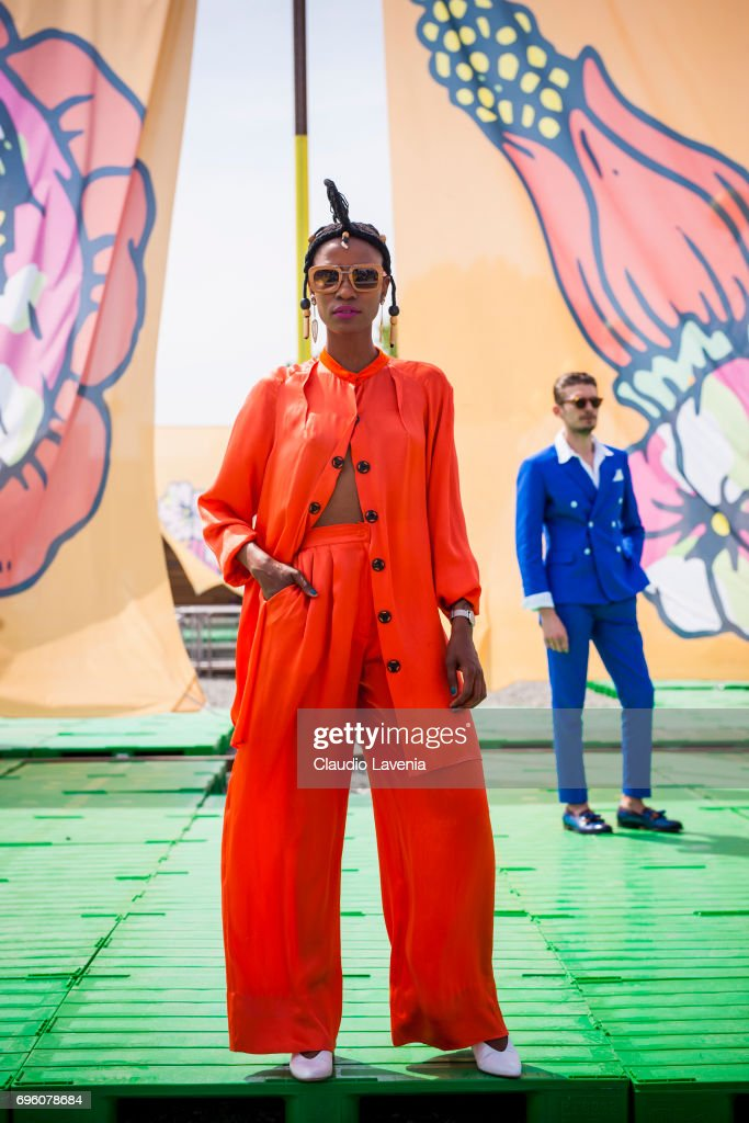 Artur Santos wears a blue jacket during Pitti Immagine Uomo 92. at Fortezza Da Basso on June 14, 2017 in Florence, Italy.