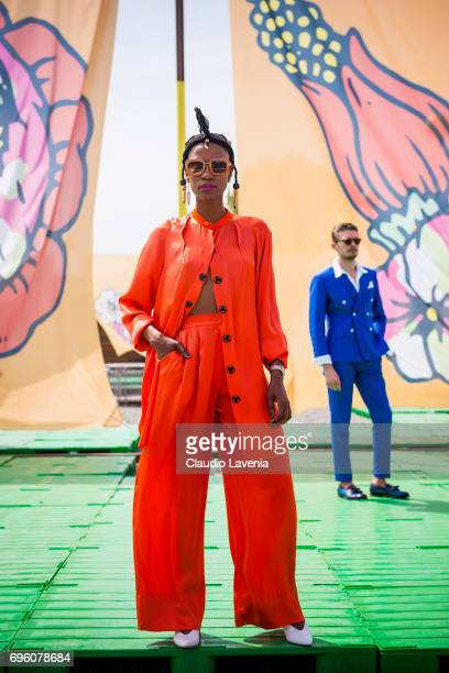 Artur Santos wears a blue jacket during Pitti Immagine Uomo 92 at Fortezza Da Basso on June 14 2017 in Florence Italy