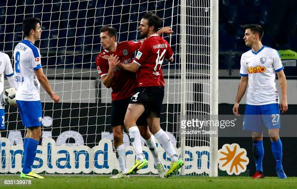 Artur Sobiech and Martin Harnik of Hannover celebration the Goal 11 during the Second Bundesliga match between Hannover 96 and VfL Bochum 1848 at...