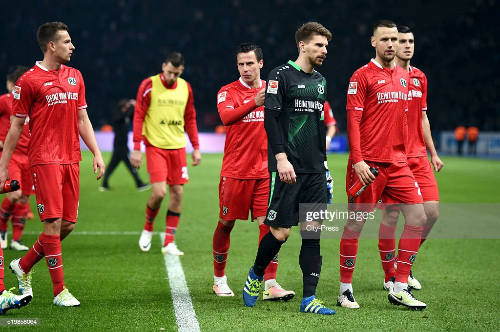 Artur Sobiech, Edgar Prib, Ron-Robert Zieler and Alexander Milosevic of Hannover 96 during the Bundesliga match between Hertha BSC and Hannover 96 at Olympiastadion on April 8, 2016 in Berlin, Germany.