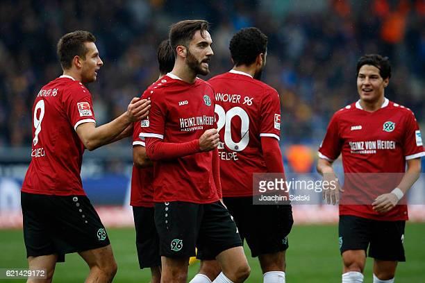 Artur Sobiech Kenan Karaman Felipe Trevizan Martins and Miiko Albornoz of Hannover celebration after the Goal 22 during the Second Bundesliga match...