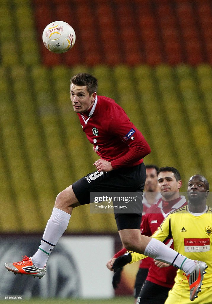Artur Sobiech of Hannover 96 in action during the UEFA Europa League Round of 32 first leg match between FC Anji Makhachkala and Hannover 96 at the Luzhniki Stadium on February 14, 2013 in Moscow, Russia.