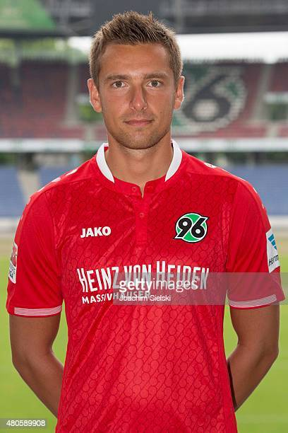 Artur Sobiech poses during the team presentation of Hannover 96 at HDIArena on July 13 2015 in Hanover Germany