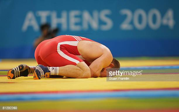 Artur Taymazov of Uzbekistan wins the men's Freestyle wrestling 120 kg gold medal match on August 28 2004 during the Athens 2004 Summer Olympic Games...