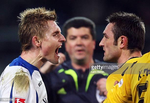 Artur Wichniarek shouts to Robert Kovac of Dortmund during the Bundesliga match between Borussia Dortmund and Arminia Bielefeld at the Signal Iduna...