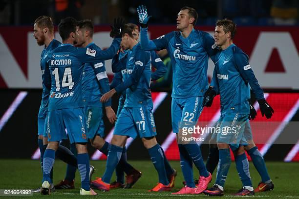 Artur Yusupov Artem Dzyuba Alexander Kokorin of FC Zenit St Petersburg celebrates after scoring goal during the Russian Football Premier League match...