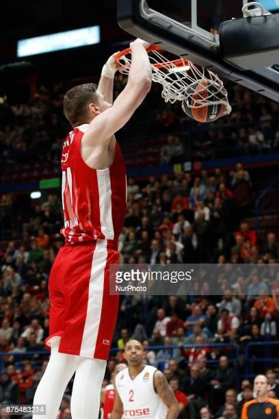 Arturas Gudaitis make a slam dunk during a game of Turkish Airlines EuroLeague basketball between AX Armani Exchange Milan vs Brose Bamberg at...