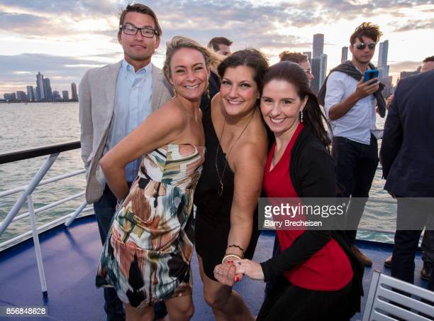 Arturas Kerelis Kristin HumDell Jennifer Karum and Brenda Hahn the 'Conrad' series party on the Spirit of Chicago boat event showcasing the new crime...