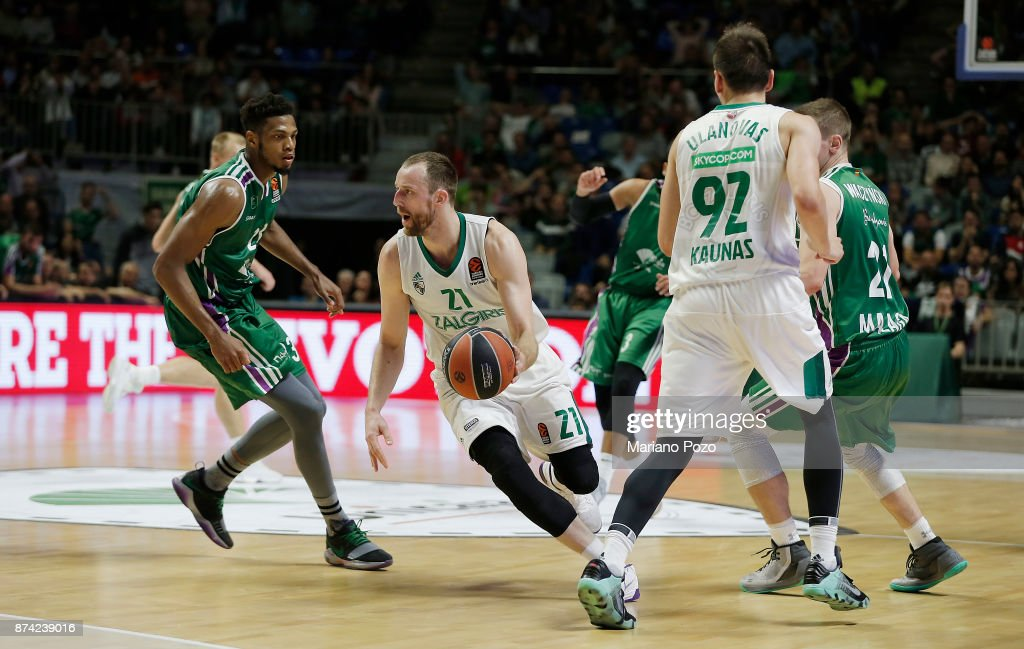 Arturas Milaknis, #21 of Zalgiris Kaunas in action during the 2017/2018 Turkish Airlines EuroLeague Regular Season Round 7 game between Unicaja Malaga and Zalgiris Kaunas at Martin Carpena Arena on November 14, 2017 in Malaga, Spain.