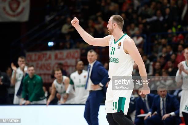 Arturas Milaknis celebrates during a game of Turkish Airlines EuroLeague basketball between AX Armani Exchange Milan vs Zalgiris Kaunas at Mediolanum...