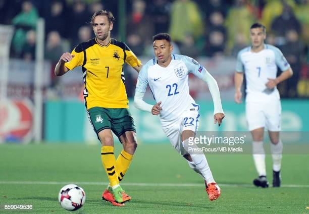 Arturas Zulpa Jesse Lingard during the FIFA 2018 World Cup Qualifier between Lithuania and England on October 8 2017 in Vilnius Lithuania