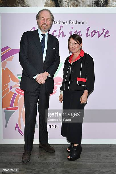 Arturo Artom and Barbara Fabbroni attend the presentation and cocktail for Barabara Fabbroni's new book 'Coach In Love' on May 26 2016 in Milan Italy