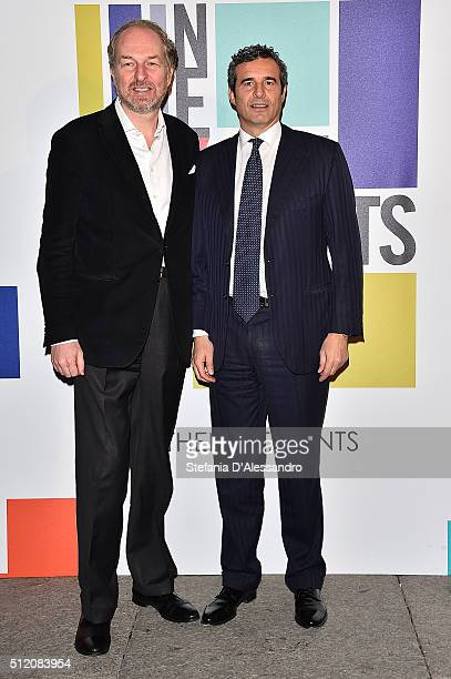 Arturo Artom and Riccardo Monti attend The Next Talents party during Milan Fashion Week Fall/Winter 2016/17 on February 24 2016 in Milan Italy