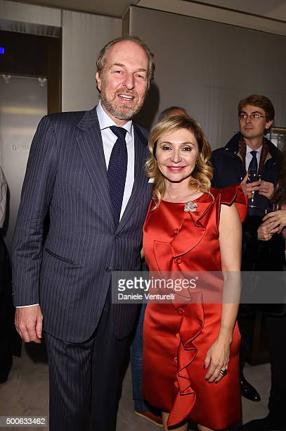 Arturo Artom and Silvia Damiani attend Damiani And Oxfam Christmas Cocktail on December 9 2015 in Milan Italy