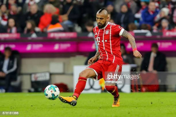 Arturo Erasmo Vidal of Bayern Muenchen controls the ball during the Bundesliga match between FC Bayern Muenchen and FC Augsburg at Allianz Arena on...