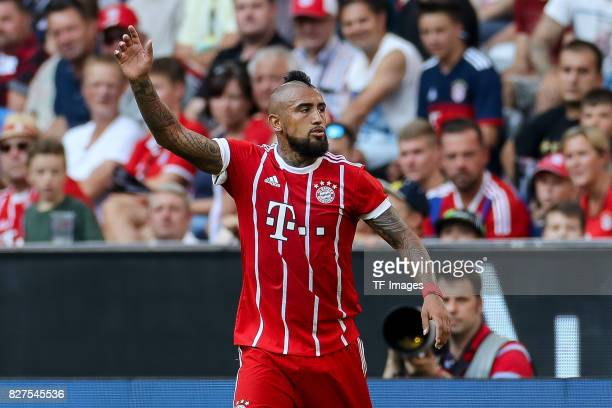 Arturo Erasmo Vidal of Bayern Muenchen gestures during the Audi Cup 2017 match between SSC Napoli and FC Bayern Muenchen at Allianz Arena on August 2...